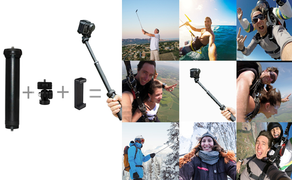 The telescopic pole becomes a selfie stick in seconds
