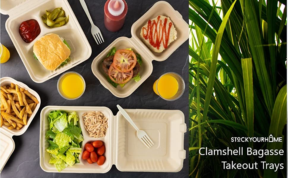 Bagasse Clamshell Takeout Containers, Biodegradable Take Out to Go Food Containers with Lids