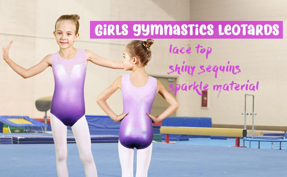 Girls Gymnastics Leotard Super Shiny Metallic With Silver Stripe Purple 11 12 Years Gymnastics Clothing
