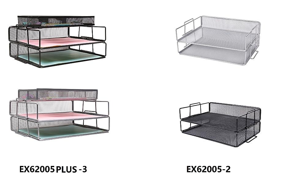 Exerz Paper Sorter/Tray/Desk Organiser/File Holder 2PCS Pack - Wire Mesh -Multifunctional for Office