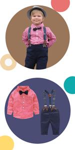 4Pcs Trajes de Bautizo Camisa Bowtie Top + Tirantes Pantalones, Niños Formales Fiesta Conjuntos