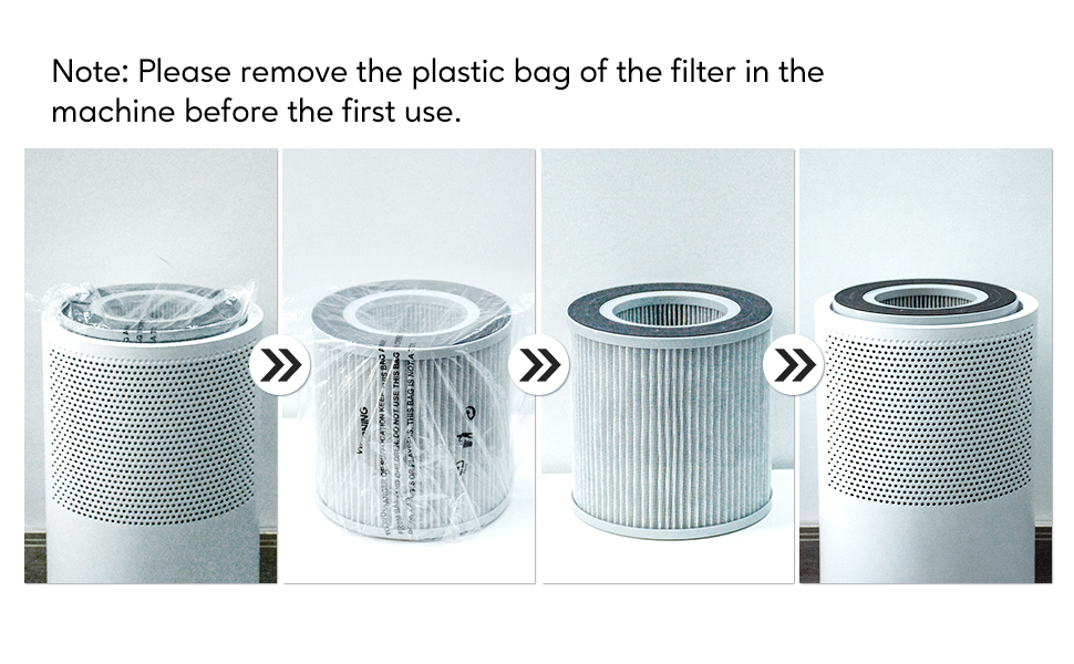 please remove the plastic bag of the filter in the air purifier.