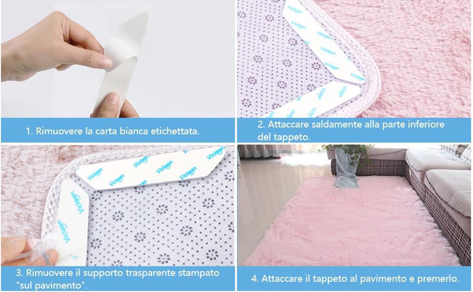 antiscivolo per tappeti Bianco Ideale per pavimenti in legno e moquette mantiene il tappeto in posizione e gli angoli piatti anti arricciamento 16 PC Con tappetini antiscivolo riutilizzabili