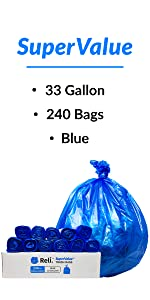 Reli. 33 Gallon Trash Bags (Blue) (240 Count Wholesale) - High Density Rolls