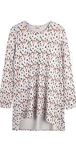 LaVieLente Ultra Soft Long Sleeve Forest Fox Hi-Lo Knit Tunic Top
