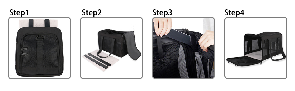 Collapsible Pet Carrier Installation Steps: