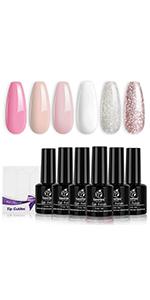 Beetles French Tips Gel Nail Polish Kit - 6 Pack Nude Pink Glitter White Gel Polish Set