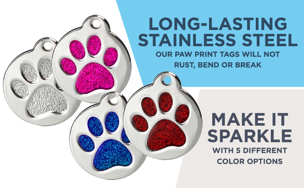 GoTags Stainless Steel Pet ID Tags Personalized Engraved Sparkling Glitter Paw Print