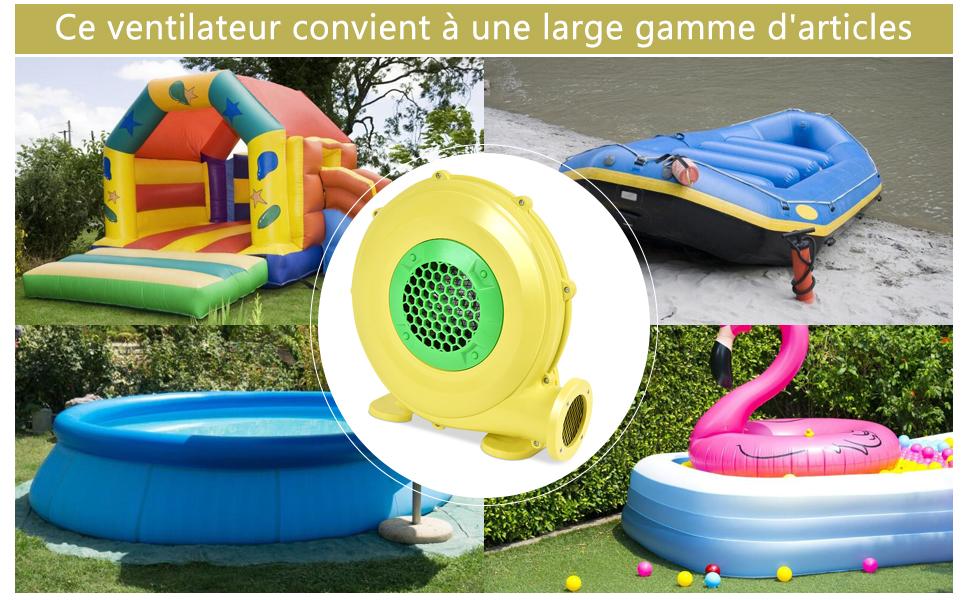 Pompe Gonflable de Ventilateur d/'Air avec Moteur en Cuivre et Cage en Plastiques Techniques PP 380W pour Ch/âteau Gonflable et Barbecue Jaune