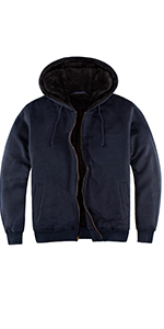 Men's Heavyweight Fleece Hoodies for Men Sherpa Lined Hooded Sweatshirt Full Zip Up Jacket
