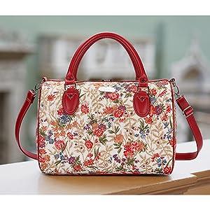 v&a, signare, tapestry, tapestry bag, flower meadow, floral bag, travel bag