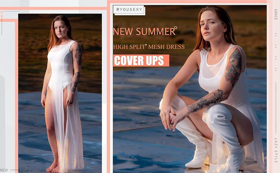 Mesh cover ups for swimwear women see through dresses for women
