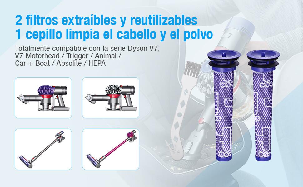 Powerextra Actualizado 21.6V 4000mAh Reempalzo Batería Compatible con Dyson V7 Animal Cordless Stick Vacuum V7 Motorhead Pro V7 Gatillo V7 Animal V7,2 Filtros y 1 Cepillo: Amazon.es: Hogar