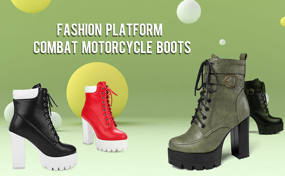 platform ankle boots for women chunky high heel combat boots lace up zip motorcycle boots