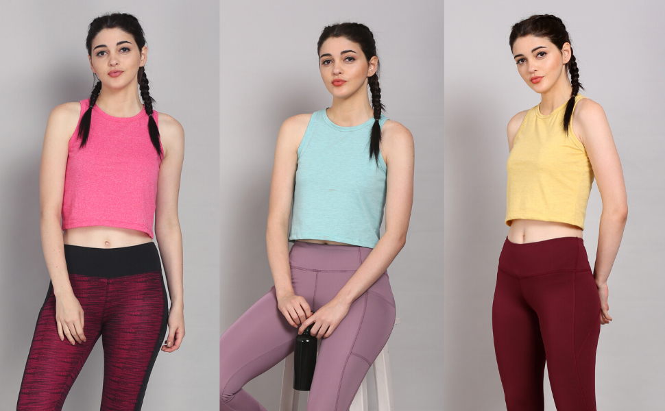 Girls Women Ladies Fitness Workout Running Shirts Yoga Tank Top Racerback Gym Crop Top Dance Tee