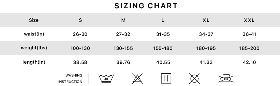 US Size Chart for Men's Gym Workout Running Pants