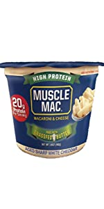 Muscle Mac Macaroni amp; Cheese Microwavable Cup Aged White Cheddar With butter From Grass Fed Cows