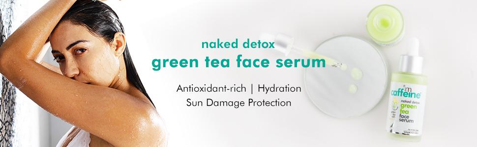 naked detox green tea face serum faceserum antioxidant rich hydration sun damage protection caffeine