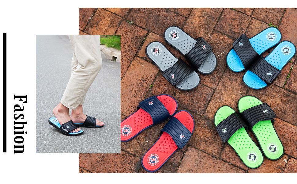 FUNKYMONKEY Mens Slide Sandals Adjustable Slip on Slippers