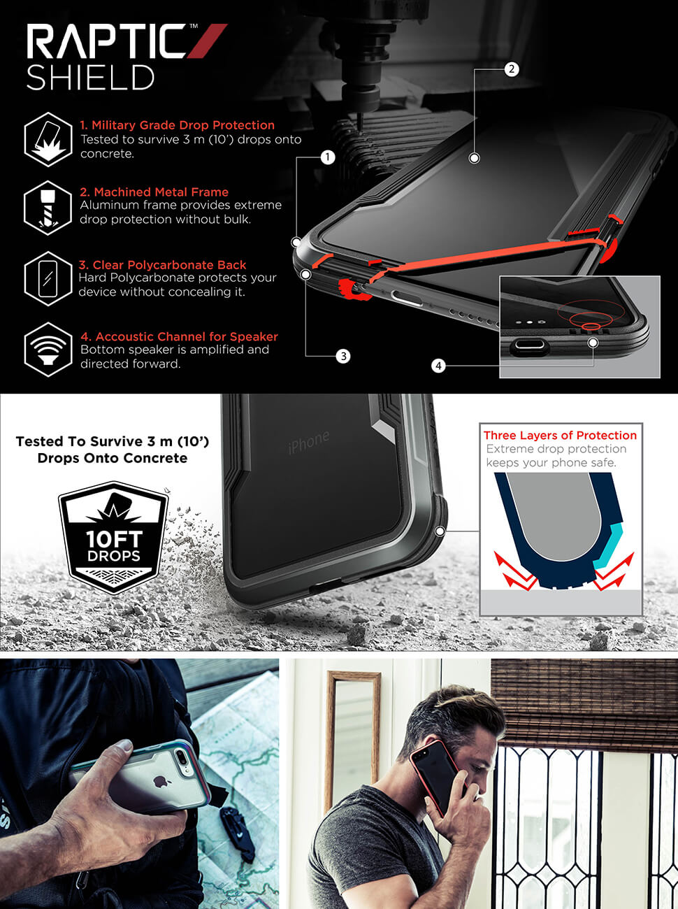 iPhone 8 case dropping on concrete, aluminum frame protecting the iPhone raptic breaking durable
