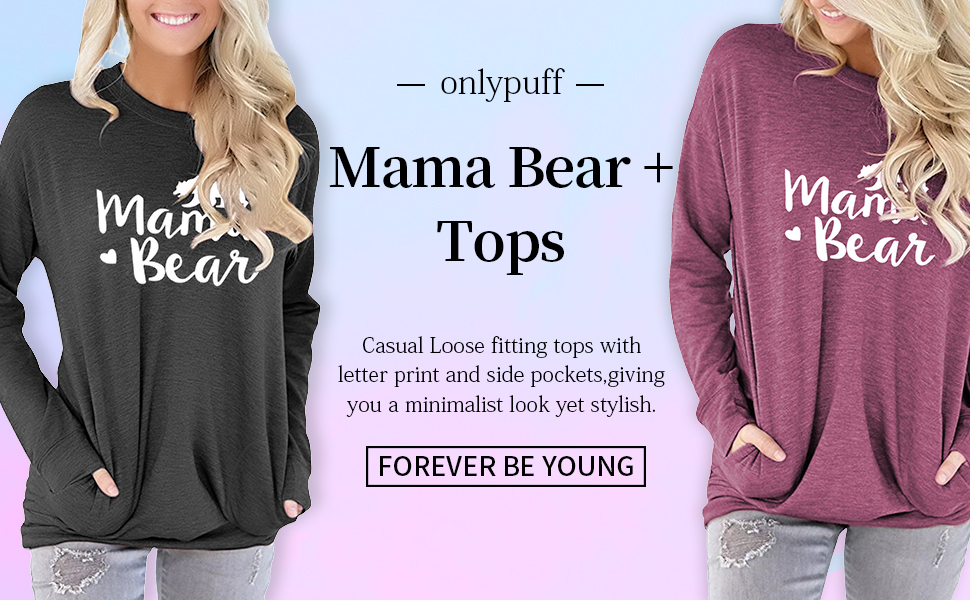 onlypuff Casual Tops for Women Floral Shirts Mama Bear Long Sleeve Tunics Comfy Soft