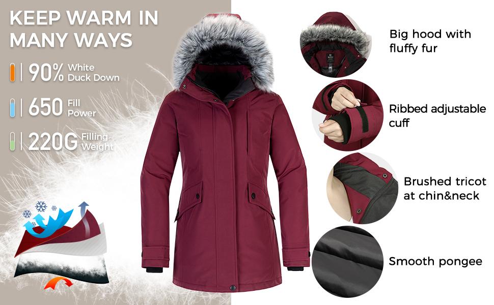 Women's Down Jacket Water Resistant Warm Winter Parka