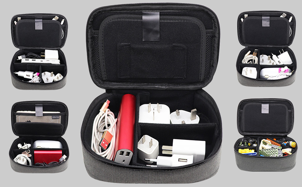 travel organizer cords cables chargers powerbank phone battery carry storage case