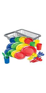 Kidzlane dishes set with draining rack plastic dishes colorful dishwasher safe food grade ages 18m+