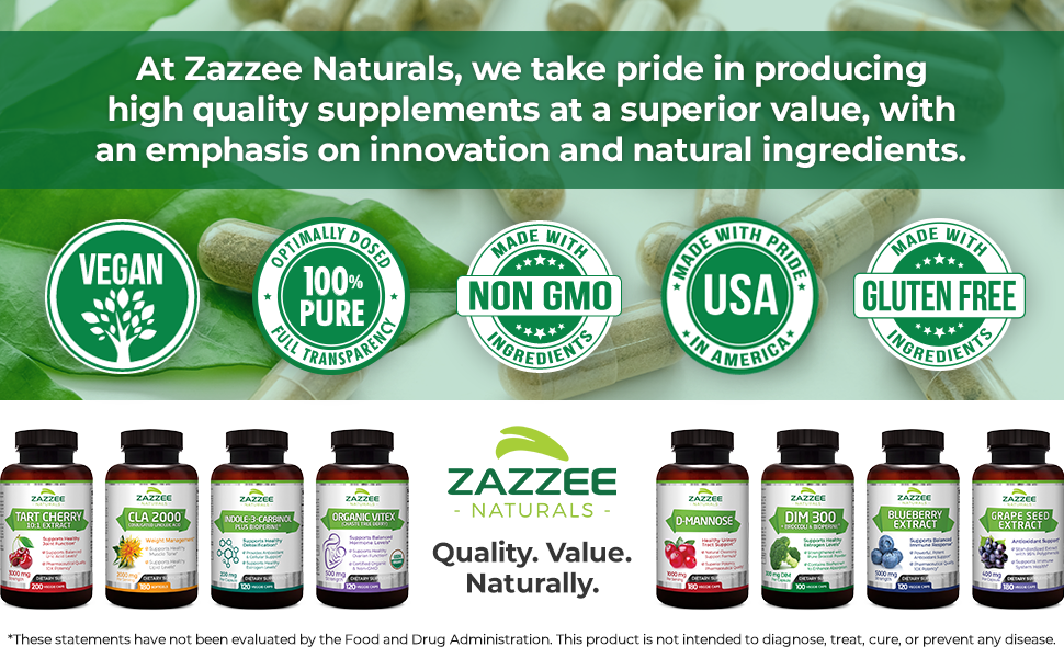 At Zazzee Naturals, we take pride in producing high quality supplements at a superior value.