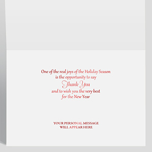 Shows the inside of a Christmas holiday card with a greeting and personal message in red foil.