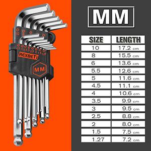 Llaves Allen Hexagonales 9pcs con Mango Multicolor Brazo Largo Punta de Bola 1.5-10mm para Reparaci/ón de Moto Bicicletas Electr/ónicas