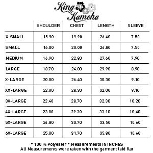 Size Charts Inches Sizing King Kameha Important Funky Hawaiian Shirt