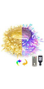 Color Changing String Lights, Warm White & Multicolor