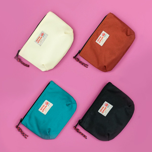 rough enough small edc zipper pouch travel cable organizer in black blue caramel off white storage