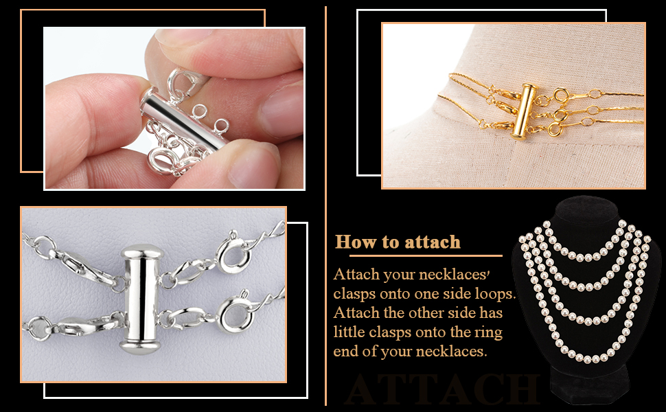 4 Pieces Double Opening Clasp Lock Necklace Connector Bracelet Connector with Rings for Layered Bracelet Necklace Jewelry Crafts