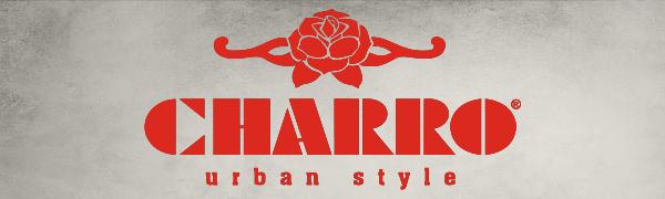 Logo Charro urban style. Collezione vintage con zaino, tracolla e marsupio