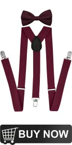 Burgundy suspenders and bow tie sets