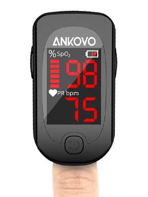 3  Pulse Oximeter Fingertip, ANKOVO Blood Oxygen Saturation Monitor with Pulse Rate, Heart Rate Monitor, Portable Pulse Ox with 2 Batteries and Lanyard (Royal Black) d5e5ac65 834c 4977 8735 3f7d06271d91