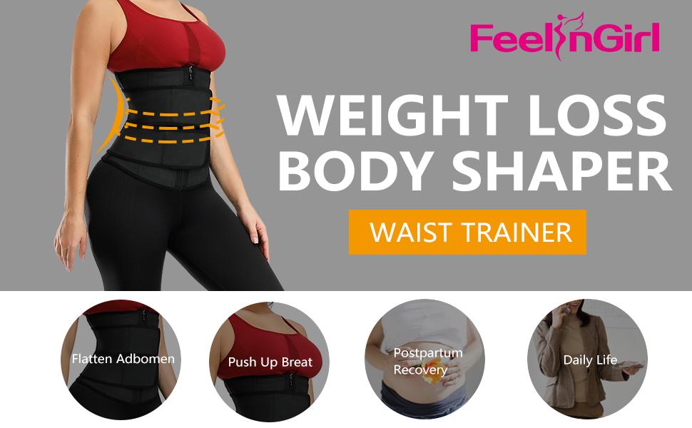FeelinGirl Womens Latex Underbust Training Cincher Workout Waist Trainer Corset