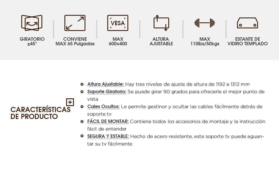 RFIVER Soporte TV de Suelo para Television de 32 a 65 Pulgadas con ...