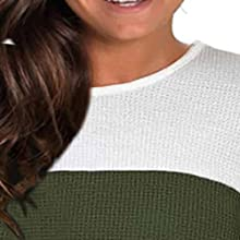 Plus size fall tops for women feature color block, crew neck detail
