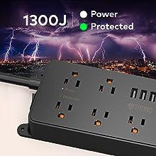 surge protector power strip flat plug