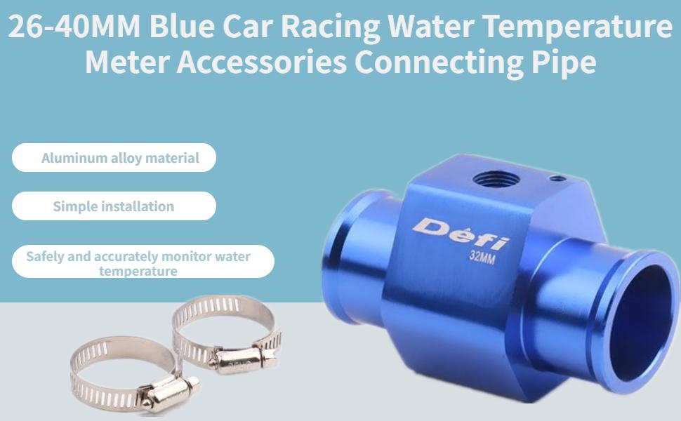 Vgeby Auto Wasser Temp Temperatur Gemeinsame Rohr Sensor Aluminum K Hlerschlauch Adapter 26 40mm Blau Auto