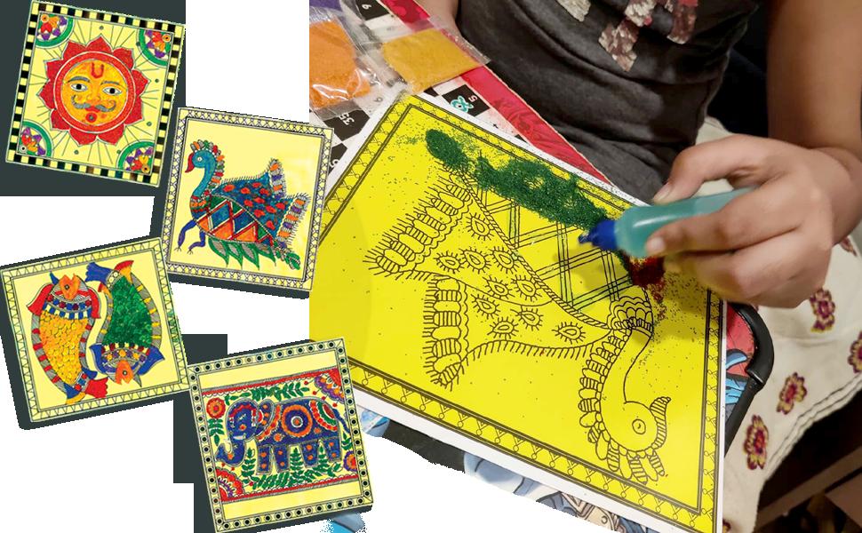39467 - Simple & Symbolic Sand Art Madhubani