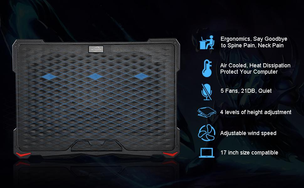 S035 5 fan laptop cooling pad