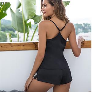 Ekouaer Womens Silk Sleepwear Satin Cami Shorts Sexy Nighty Pajama Sets Lingerie