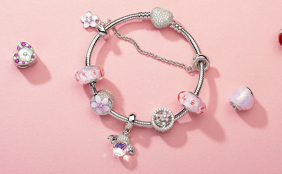 The Kiss Dazzling CZ Pink Heart Crystal Pave 925 Sterling Silver Bead Fits European Charm Bracelet