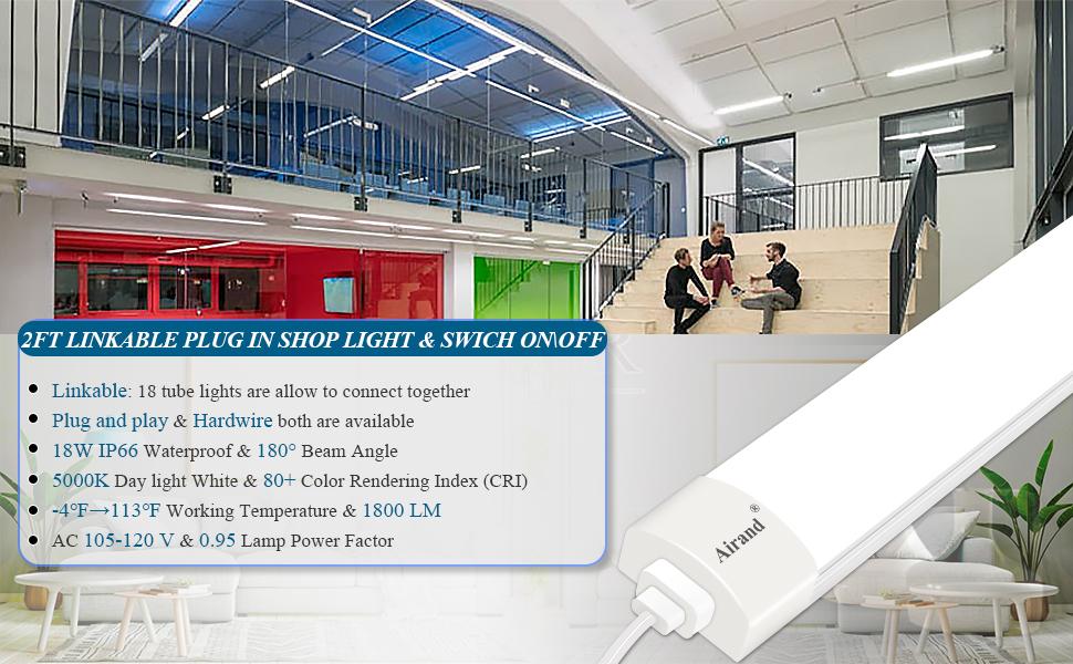 LINKABLE LED SHOP LIGHT WITH PLUG