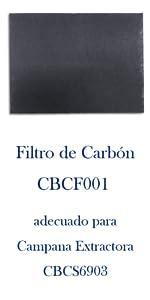 CIARRA Campana Extractora Decorativa 60cm 220m³/h 100W - 3 Velocidades de Extracción - Evacuación al Exterior y Recirculación Interna por Filtro de Carbón CBCS6903 - Acero Inoxidable Plata: Amazon.es: Grandes electrodomésticos