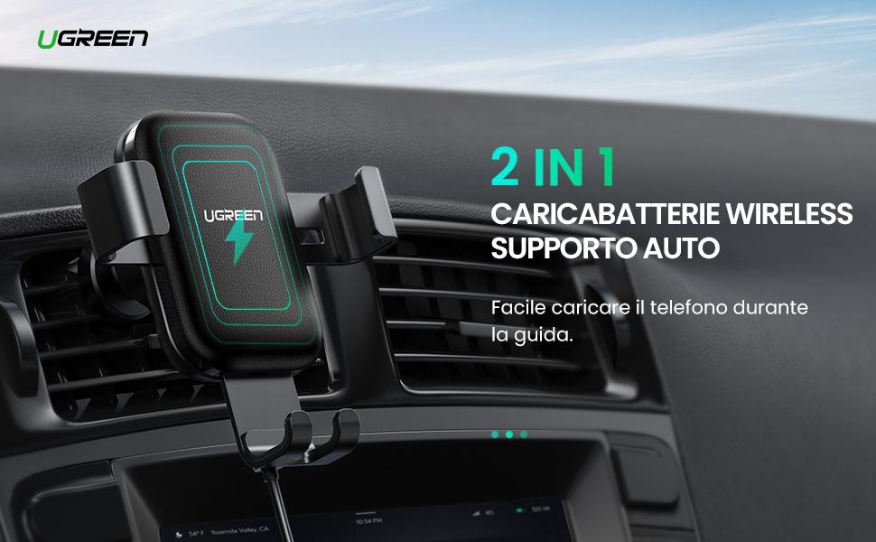 UGREEN Caricabatterie Wireless Auto Supporto Smartphone Gravità Ricarica Rapida 10W per Samsung Galaxy S10+ S10 S9 S8 7.5W per iPhone X XS MAX 8 8Plus 5W per Huawei Mate 20 Pro P30 Pro Xiami Mi9 ecc